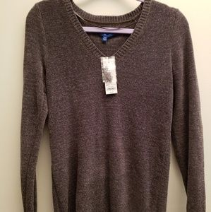 NWT Apt.9  Olive Green Vneck Chenille Sweater XS